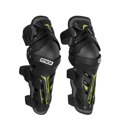 Rynox Bastion Bionic Knee Guards Black Hi-viz Green 1