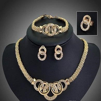 18k gold plated set of earrings, bracelet, ring and necklace D07 - Shopcapefield