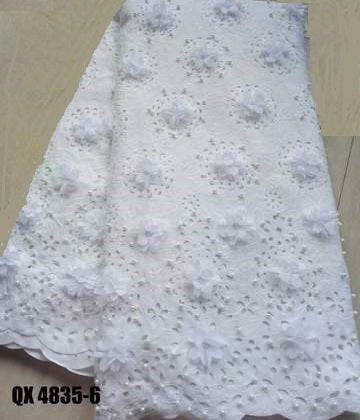 Laser cut 3D flower beaded and stones lace white