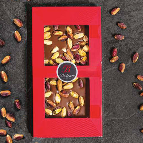 Bodrato MILK CHOCOLATE TILE WITH PISTACHIOS 110GR