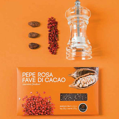 Chocolate bar pink pepper and cocoa beans 50gr
