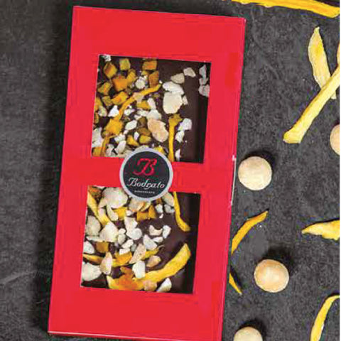 EXTRA DARK CHOCOLATE TILE WITH MANGO AND MACADAMIA 120GR