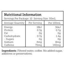First press - Cold drip 10 Shots (500ml) Nutritional Panel