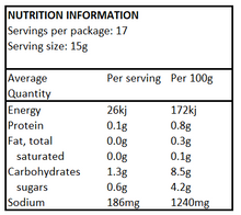 NUTRITIONAL INFORMATION - Good Sauce - Sweet Chilli (260g)