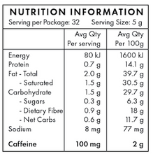 Nutritional Information - Loaded coffee - Butter Bomb