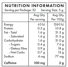 Nutritional Information - Loaded coffee - Vanilla Bliss