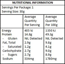 Nutritional Panel Kooee! Snacks Beef Jerky - Classic Sea Salt (Gluten Free) - 30g