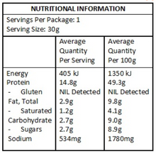 Nutritional Panel Kooee! Snacks Beef Jerky - Smoked Chipotle  (Gluten Free) - 30g