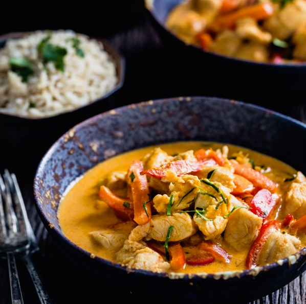 Thai Red Chicken Curry Served Over White Rice (NDIS)