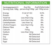 Nutritional Information - ZERO Slim & Healthy Konjac RICE - 400g