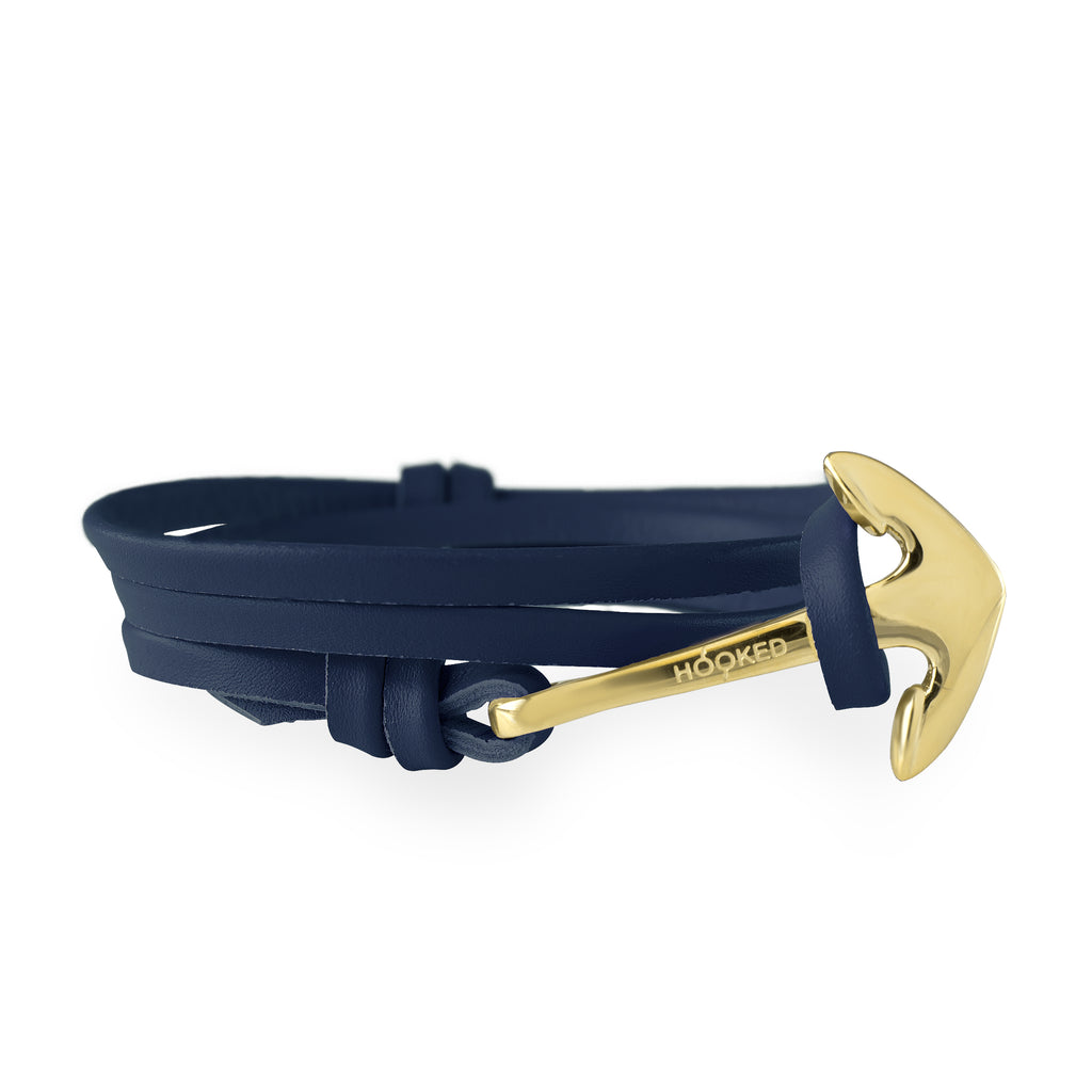 Anchor Navy Blue Leather Wrap