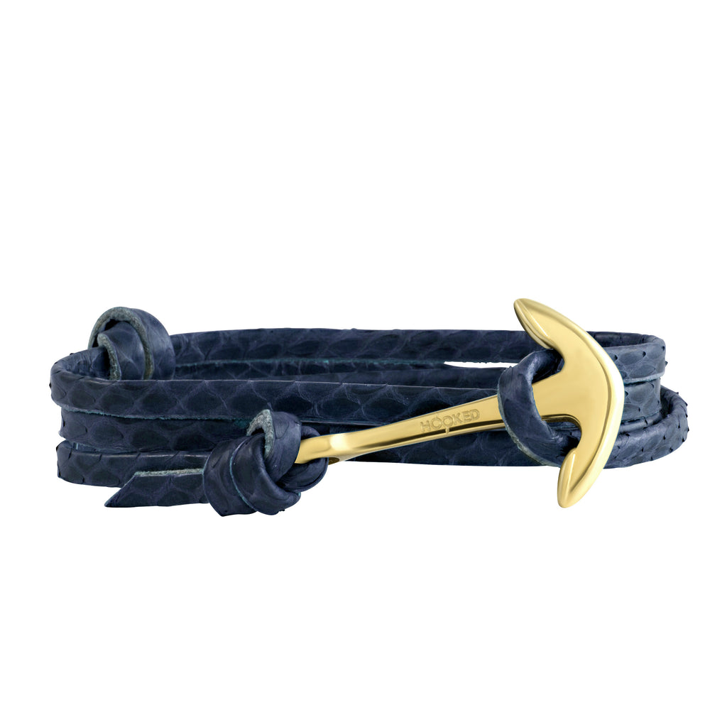Gold Anchor | Snake Leather wrap