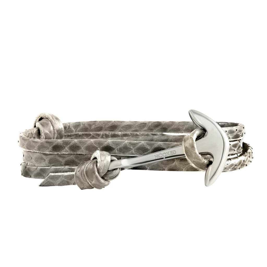 Silver Anchor | Snake Leather wrap