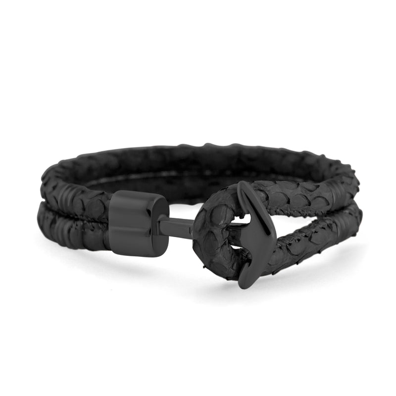 Matt Black Anchor | Braided Snake Leather