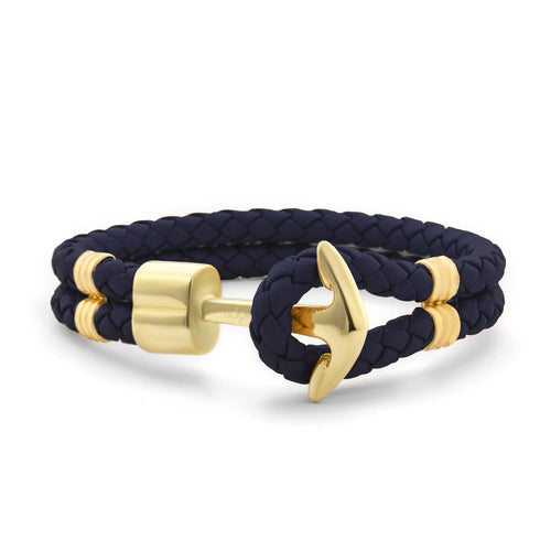 Navy Blue Braided Leather