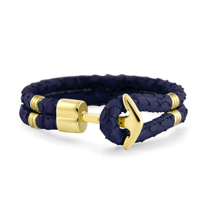 Gold Anchor | Braided Snake Leather