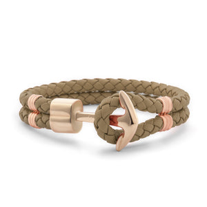 Rose Gold Anchor | Braided Leather