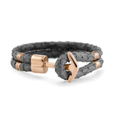 Rose Gold Anchor | Braided Snake Leather