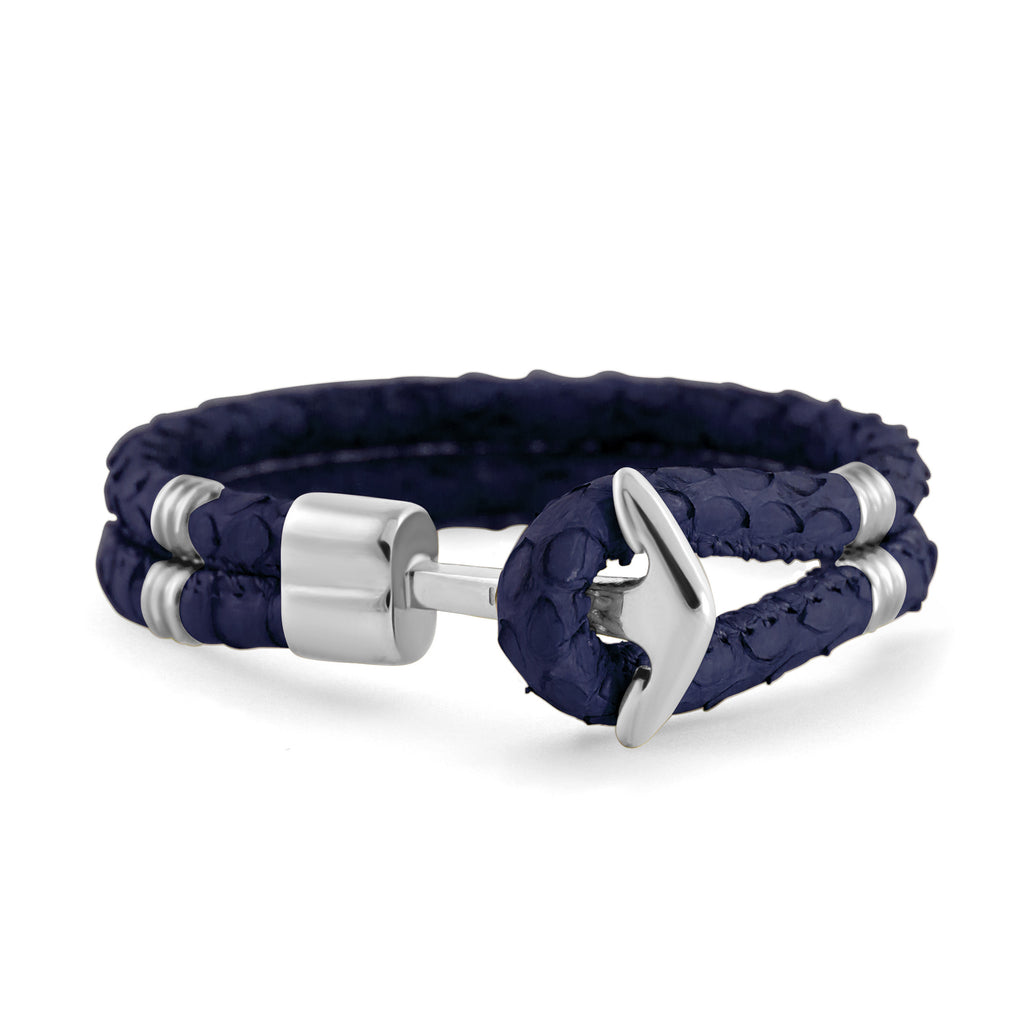 Silver Anchor | Braided Snake Leather