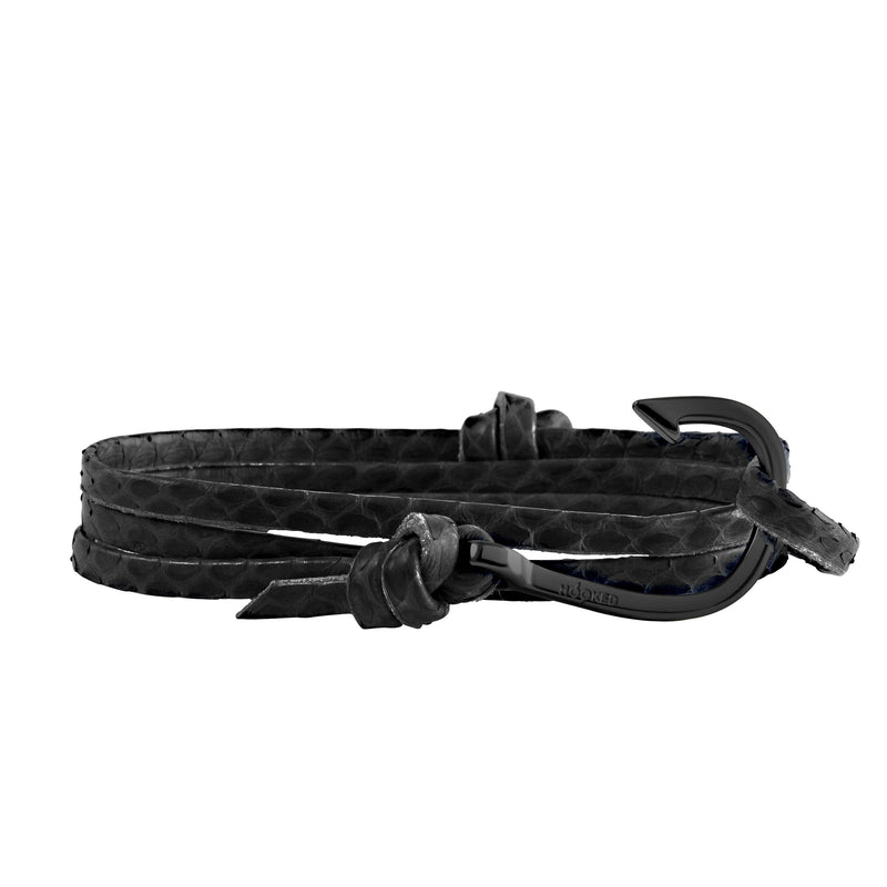 Matt Black Hook | Snake Leather wrap