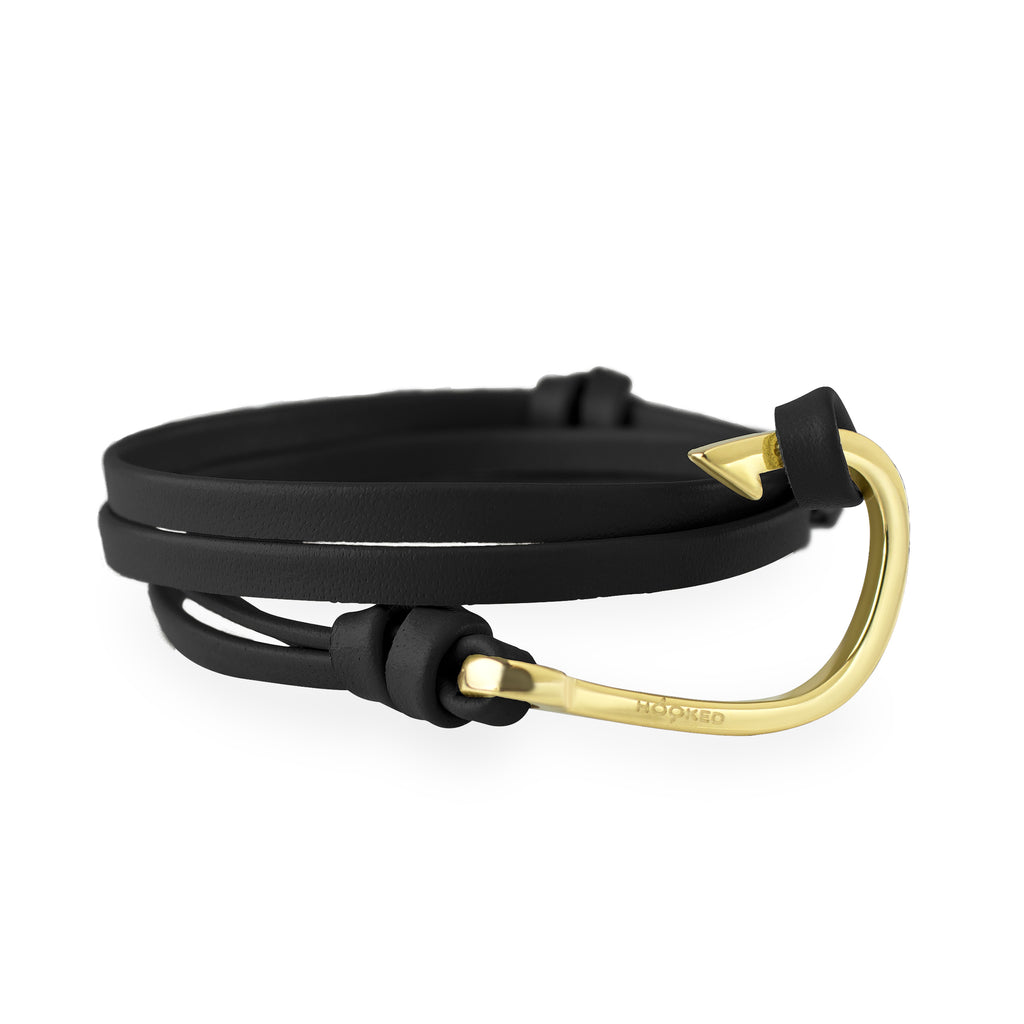 Hook Black Leather Wrap