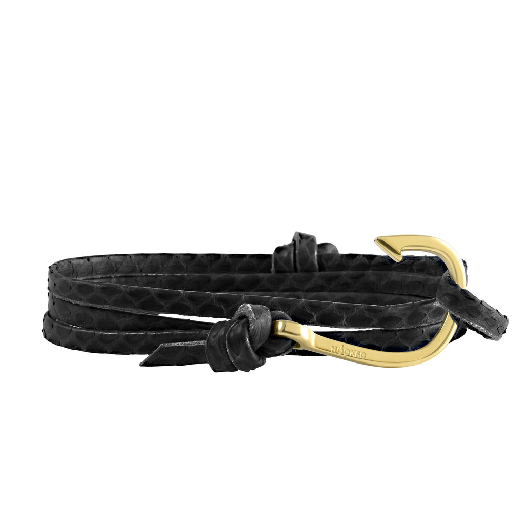 Gold Hook | Snake Leather wrap