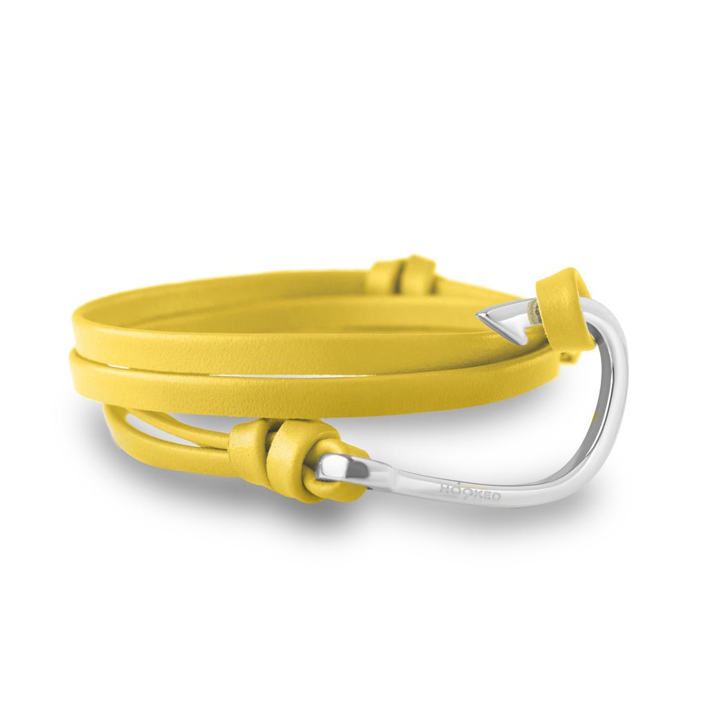 Hook Funky Yellow Leather Wrap