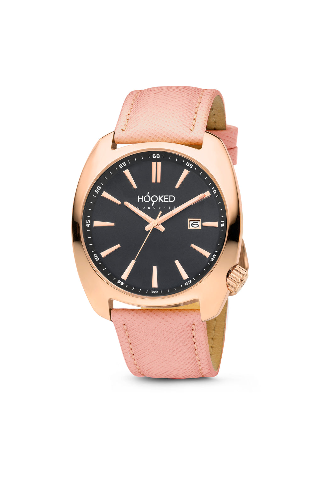 Rose Gold Watch - Black Dial | Minimal date 38mm