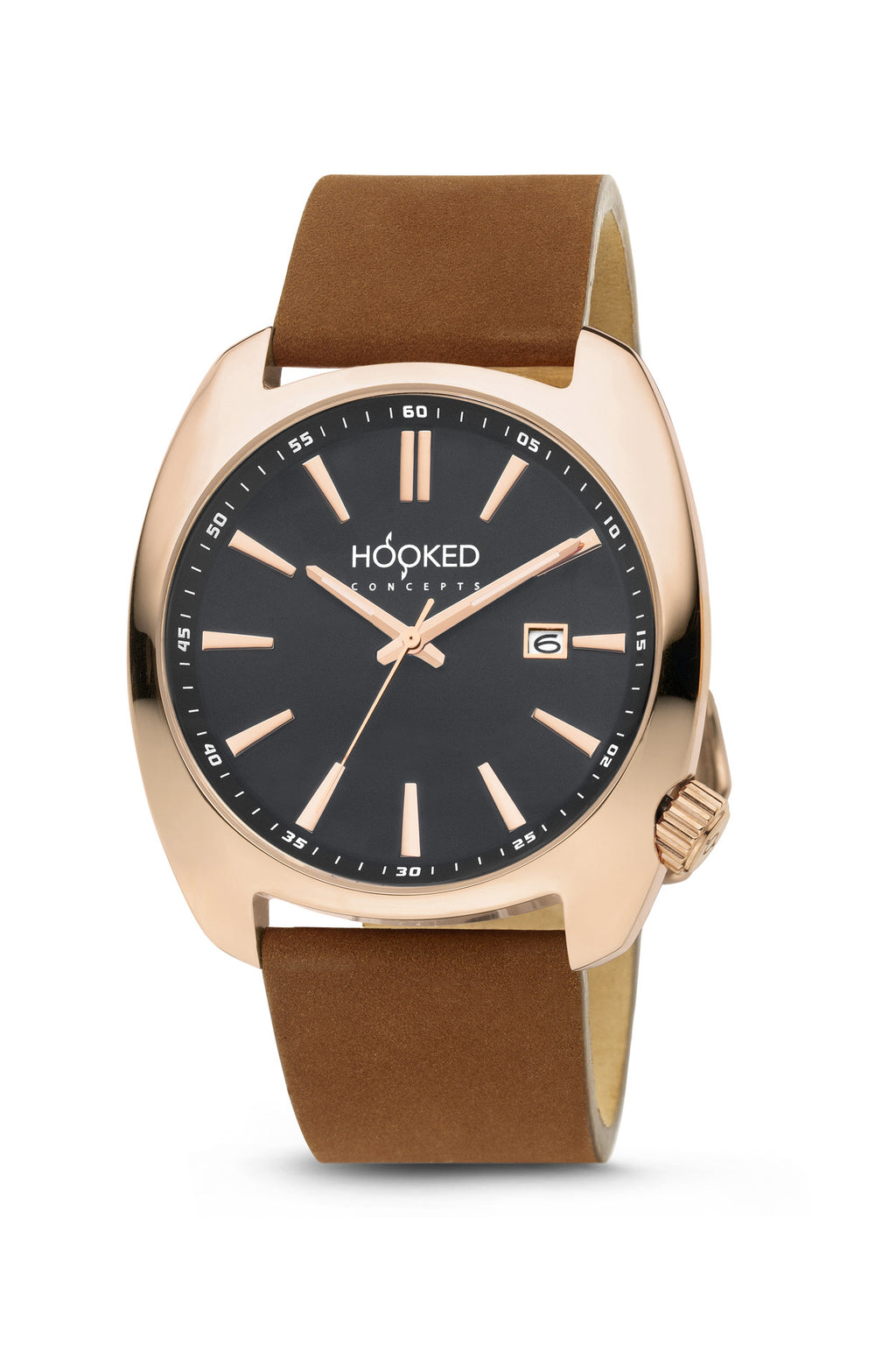 Rose Gold Watch - Black Dial | Minimal Date 45mm