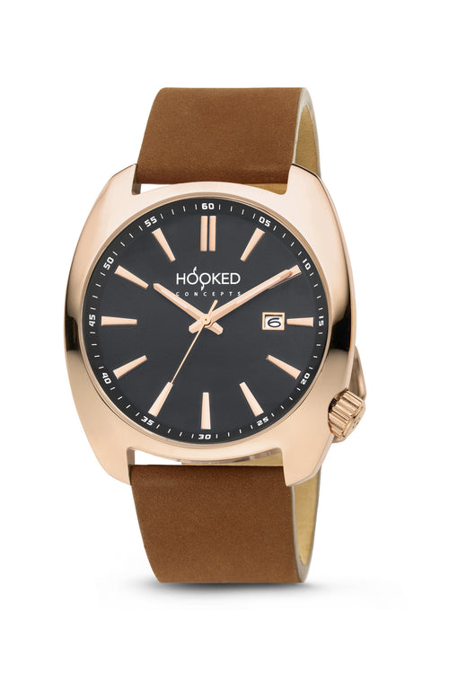 Rose Gold Watch - Black Dial | Male 45mm