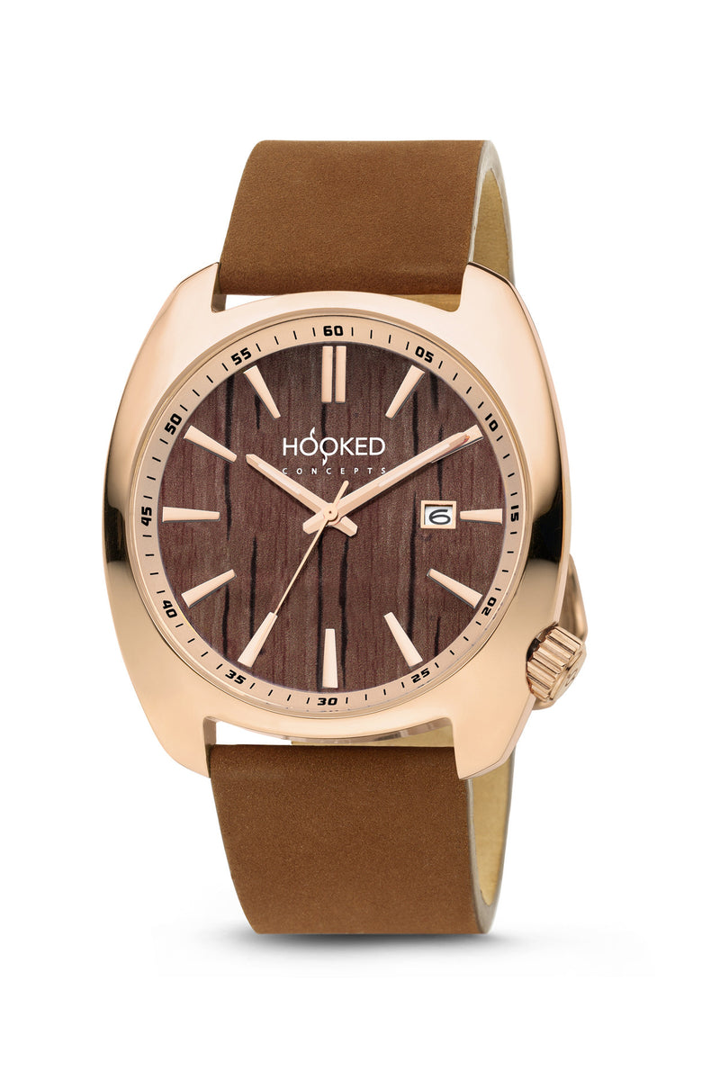 Rose Gold Watch - Boat Deck Dial | Minimal date 45mm