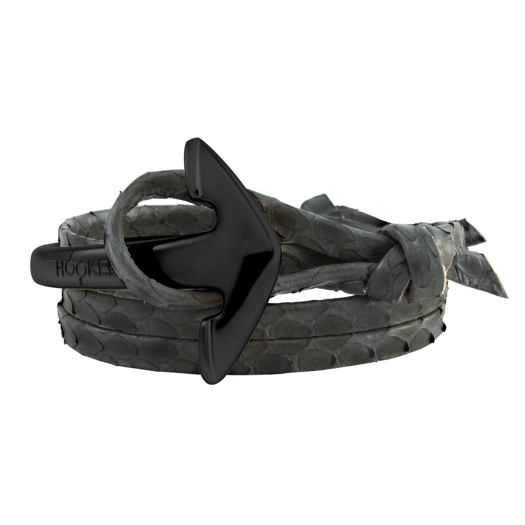 Matt Black | Special large Anchor | Snake leather