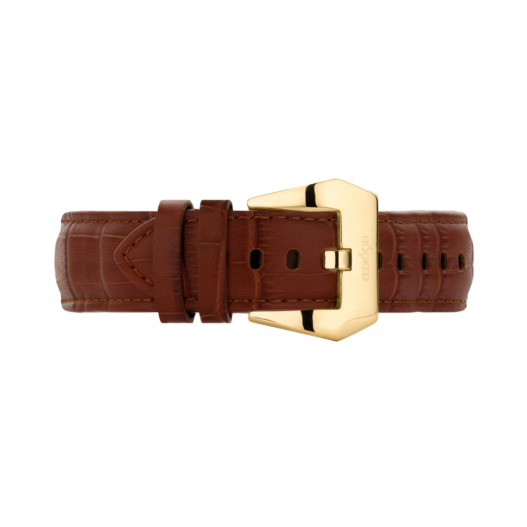 Croco Leather Strap | Light Brown - 22MM
