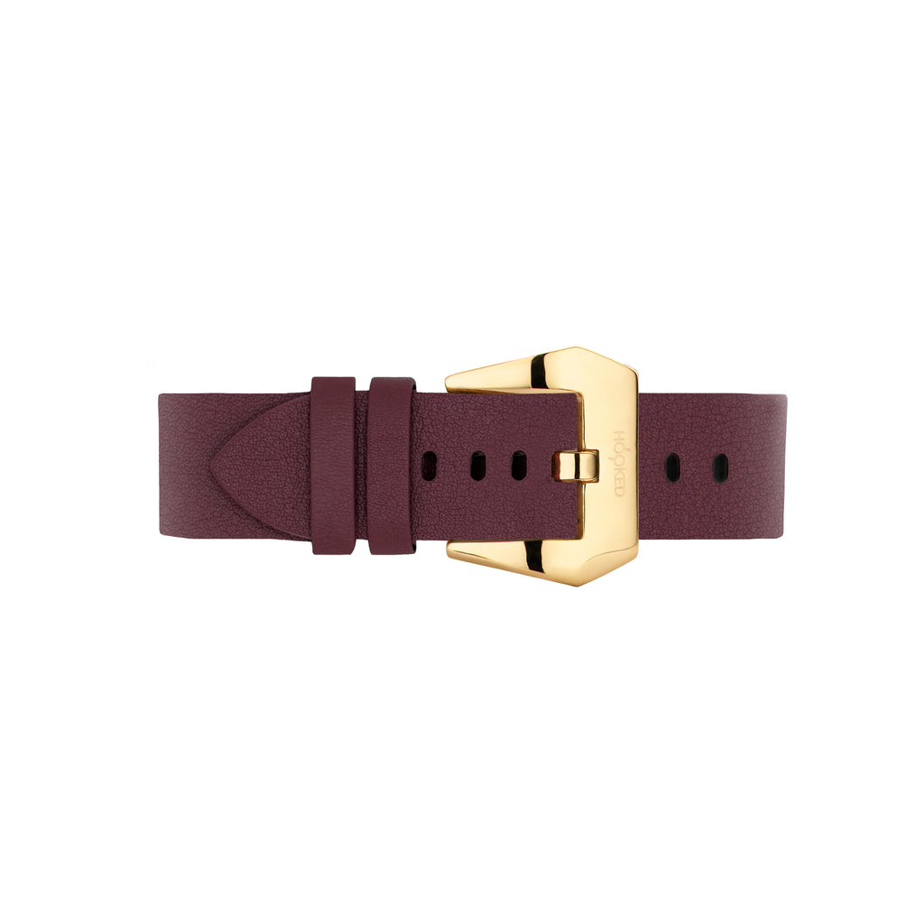 Needle grain Leather Strap | Marsala red - 18MM