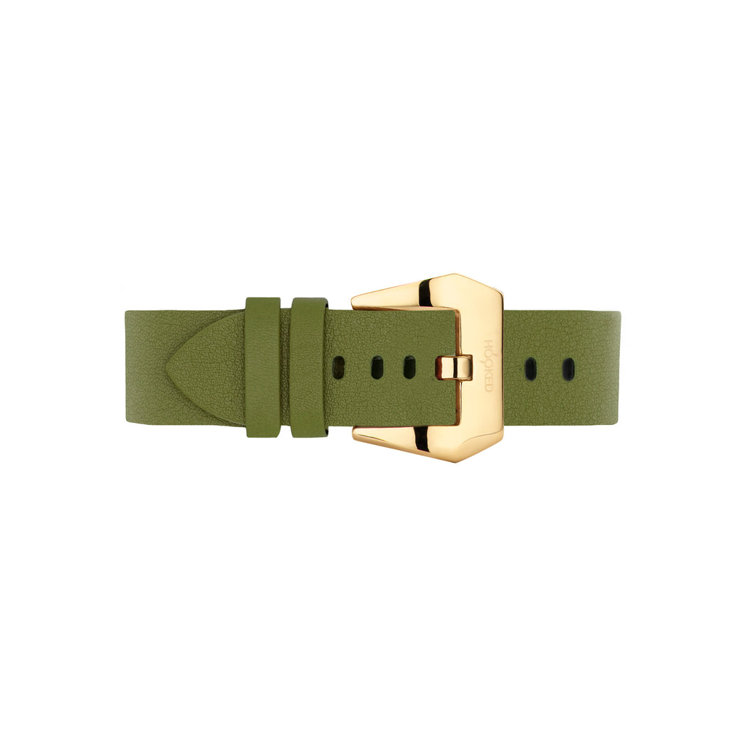 Needle grain Leather Strap | Golden Lime - 18MM
