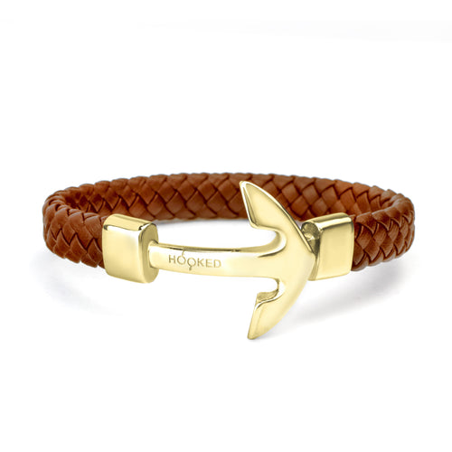 Gold Anchor | Fat Braided Leather