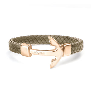 Rose Gold Anchor | Fat Braided Leather