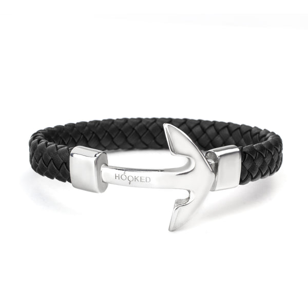 Silver Anchor | Fat Braided Leather
