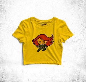 Black Widow Fun Toon Crop Top