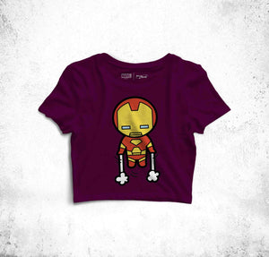 """Iron Man's Up In The Air!"" Fun Toon Crop Top"