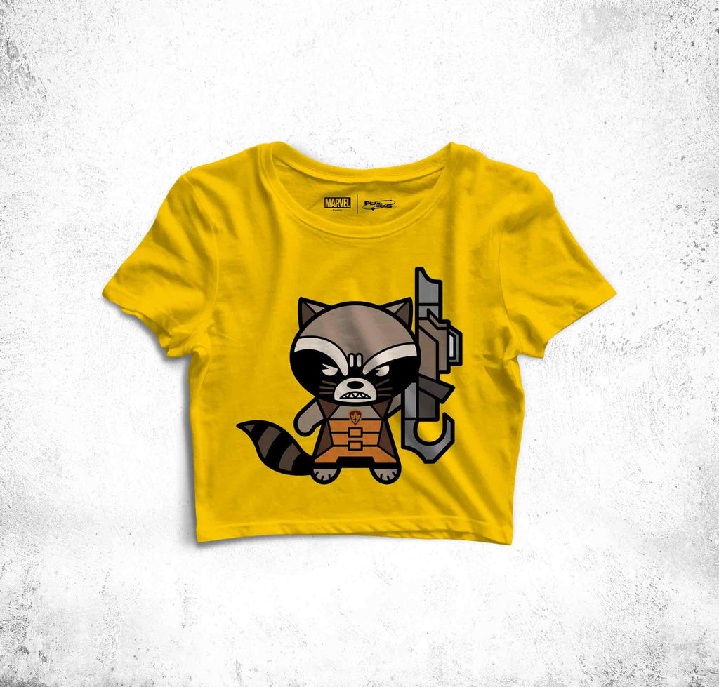 Rocket Is Always Ready Fun Toon Crop Top