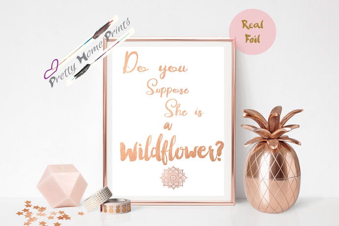 Alice in wonderland Rose Gold Foil Print A4 Wildflower