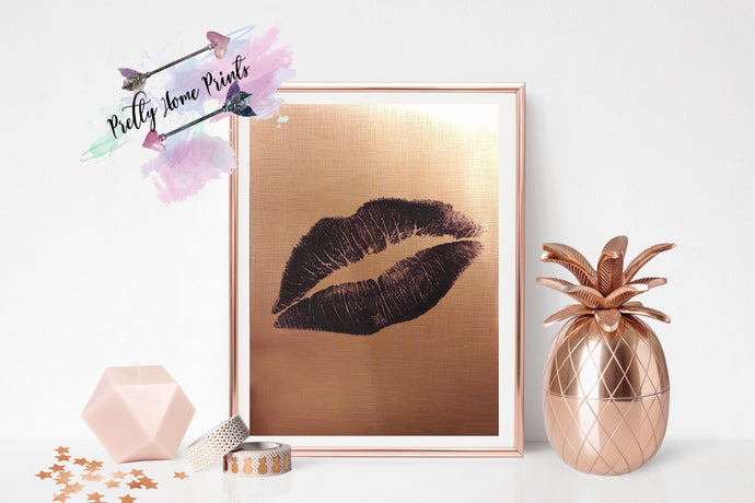 Deluxe Black Kiss Rose gold copper metalic print