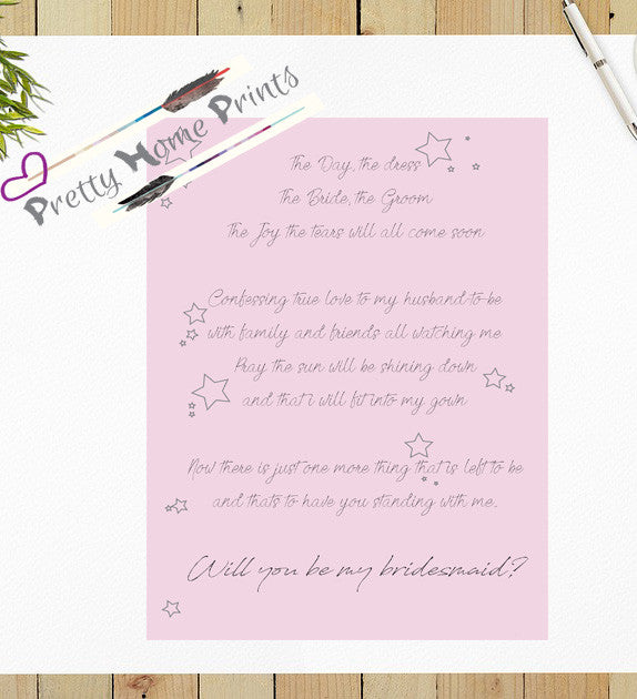 Will you be my bridesmaid stationary *Personalisation available