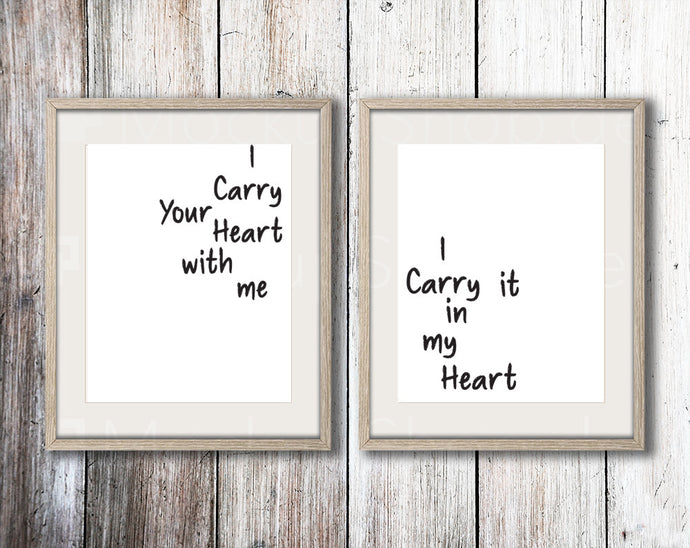I carry your heart double print set  - Anniversary/wedding gift