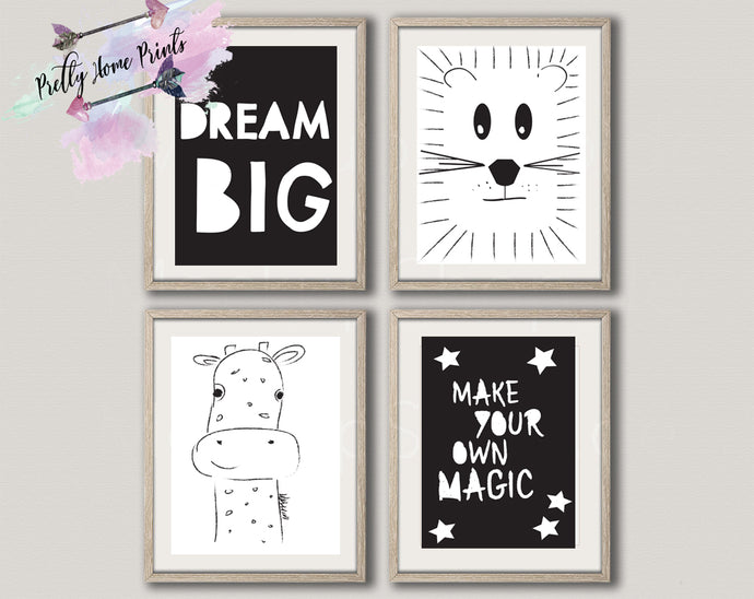 Monochrome Nursery Set x 4 prints Lion, Giraffe, magic ,  dream big