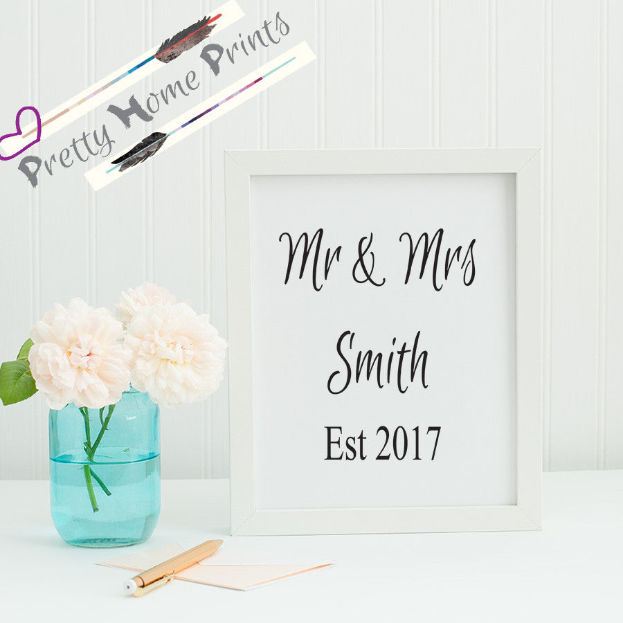Mr & Mrs Personalised wedding sign / gift print
