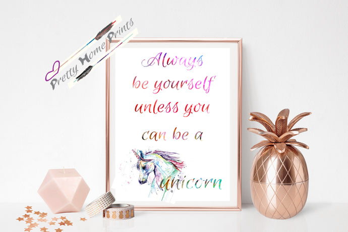 Be a Unicorn Rainbow watercolour print
