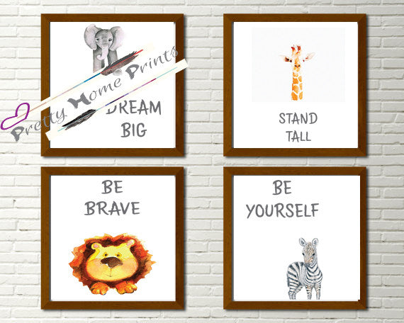 Nursery prints set of four animals inspirational set