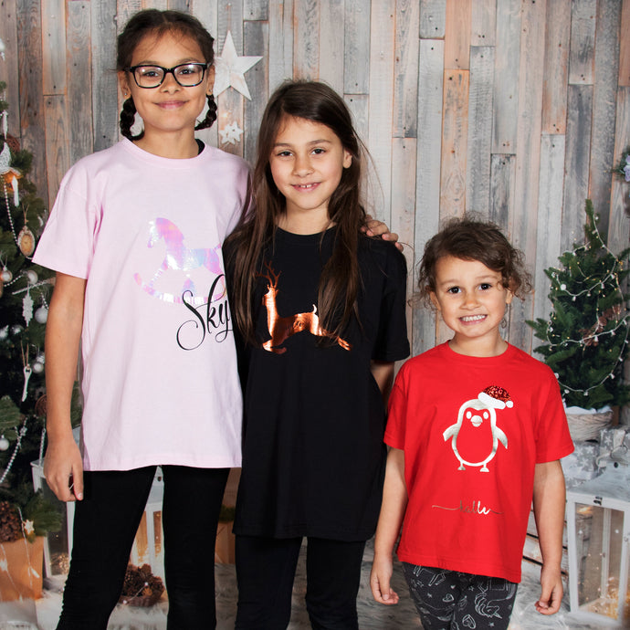 Personalised Christmas tshirts  rocking horse , reindeer and penguin styles